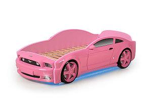 """Кровать-машина """"Мустанг"""" 3D (объемная пластиковая) розовая с матрасом"""