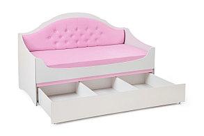 Диван-кровать с каретной стяжкой Valencia с бортиком, ящиками и матрас Комфорт