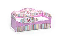 Диван-кровать для девочек Mia Розовый с бортиком, ящиками и матрасом Kомфорт