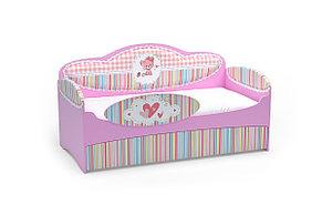 Диван-кровать для девочек Mia Розовый с бортиком, ящиками и матрасом