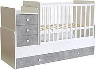 Кровать - трансформер детская Polini kids Simple 1111 белый-бетон, фото 1