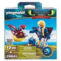 Конструктор Playmobil Драконы III: Астрид в летном костюме с Объедалой, фото 1