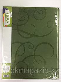 Скоросшиватель пластиковый зеленый с пружинным металлическим механизмом