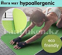 Коврик для йоги и фитнеса йогамат 6 мм 185 см х 61.5 см (зеленый)