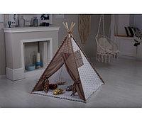Детская палатка вигвам Incanto Эко Аляска с окошком и ковриком кофе-бежевый, фото 1