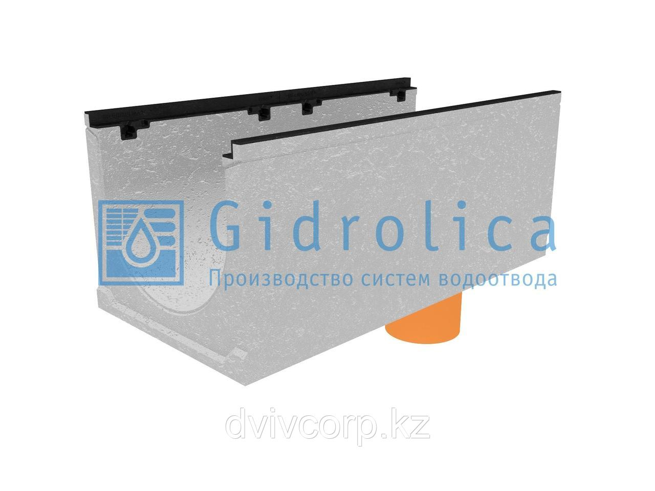 Лоток водоотводный бетонный коробчатый (СО-400мм), с чугунной насадкой, с водосливом КUв 100.49,9 (40).42(35)