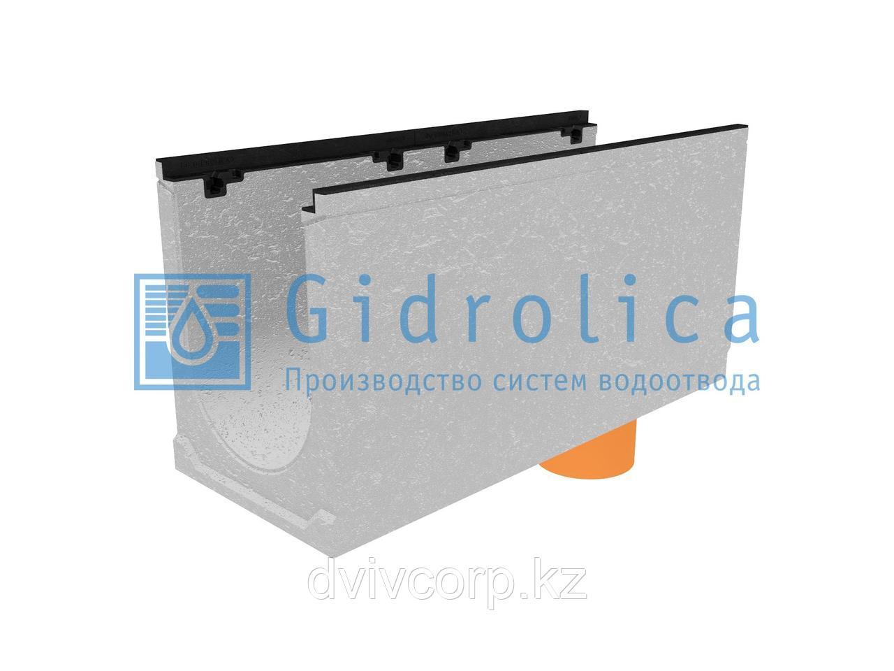 Лоток водоотводный бетонный коробчатый (СО-300мм), с чугунной насадкой, с водосливом КUв 100.39,9