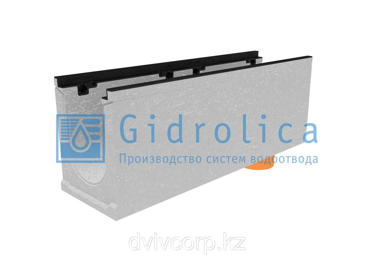 Лоток водоотводный бетонный коробчатый (СО-200мм), с чугунной насадкой, с водосливом КUв 100.29,8 (20).37(30)
