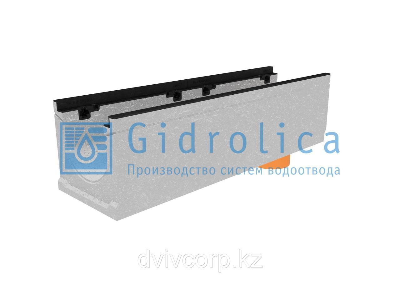 Лоток водоотводный бетонный коробчатый (СО-200мм), с чугунной насадкой, с водосливом КUв 100.29,8 (20).27(20)