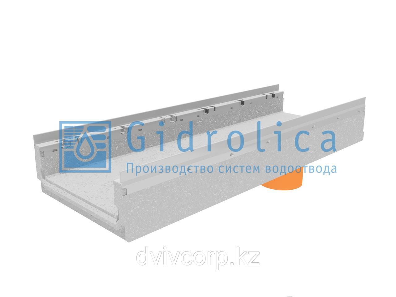 Лоток водоотводный бетонный коробчатый (СО-300мм), с оцинкованной насадкой, с водосливом КПв 100.36,3