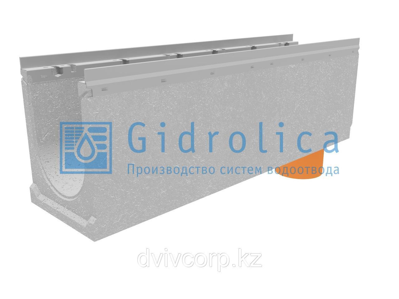 Лоток водоотводный бетонный коробчатый (СО-200мм), с оцинкованной насадкой, с водосливом КUв 100.26,3