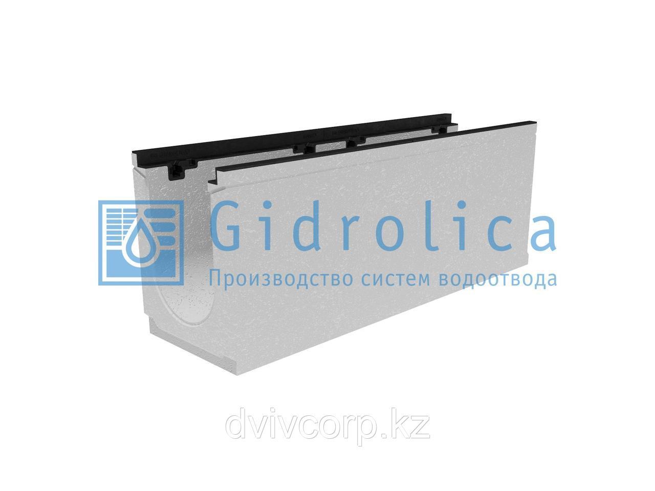Лоток водоотводный бетонный коробчатый (СО-200мм), с чугунной насадкой КU 100.29,8 (20).38,5(31,5) - BGZ-S