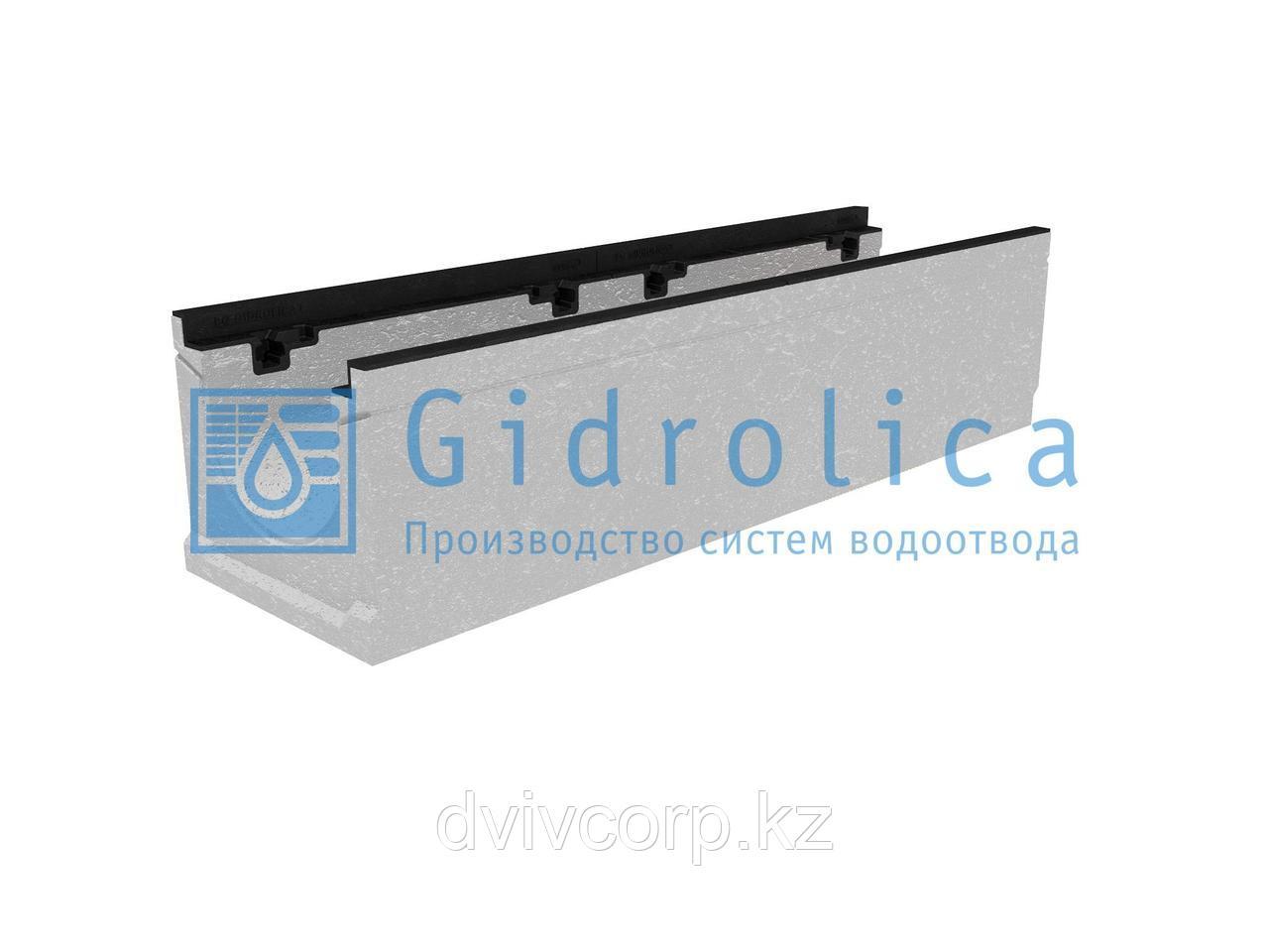 Лоток водоотводный бетонный коробчатый (СО-200мм), с чугунной насадкой КU 100.29,8 (20).24,5(17,5) - BGZ-S, №