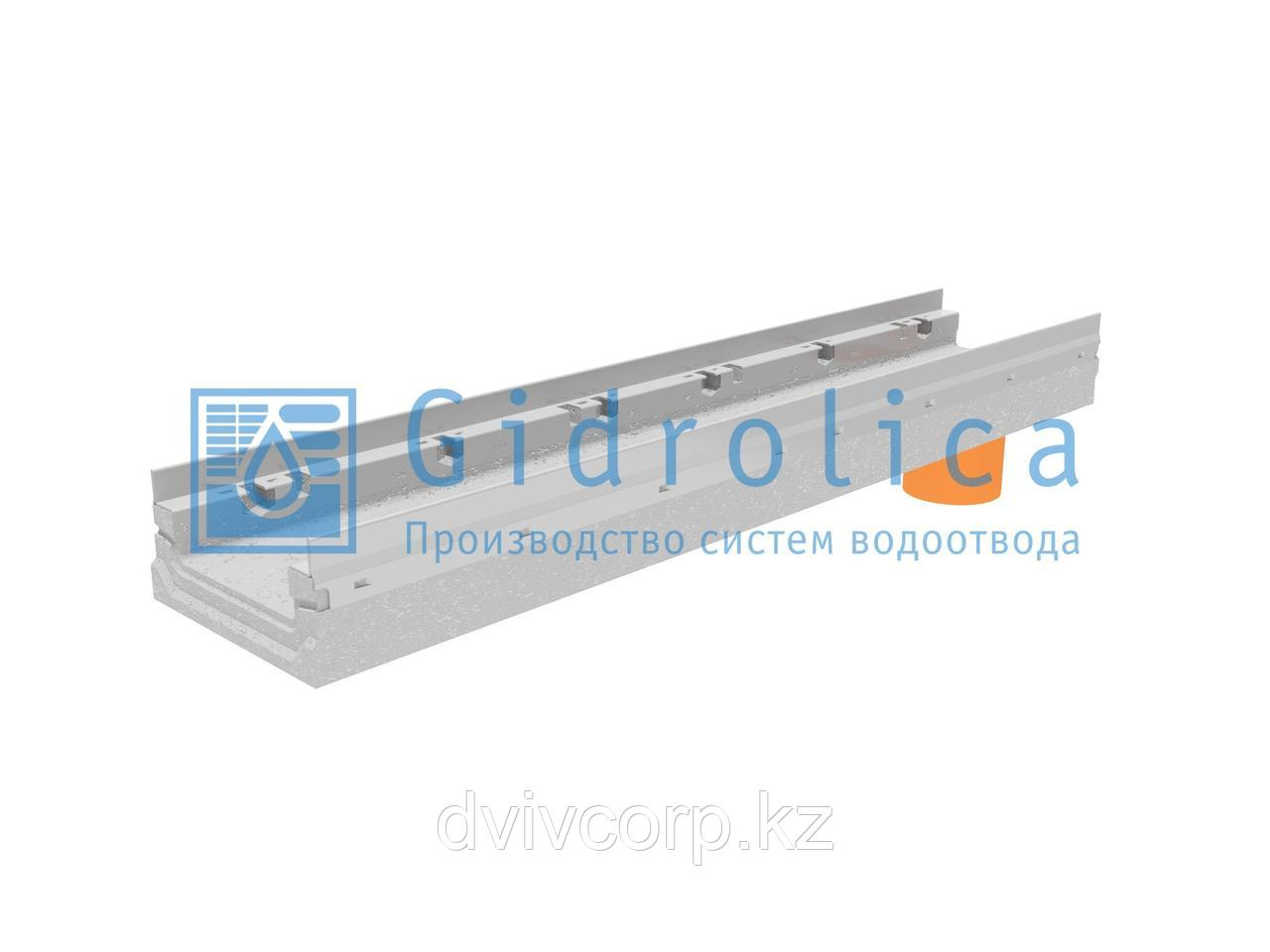 Лоток водоотводный бетонный коробчатый (СО-150мм), с оцинкованной насадкой, с водосливом КПв 100.21,3