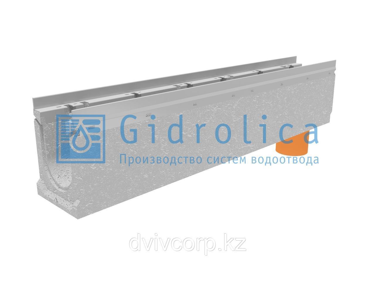 Лоток водоотводный бетонный коробчатый (СО-100мм), с оцинкованной насадкой, с водосливом КUв 100.16,3