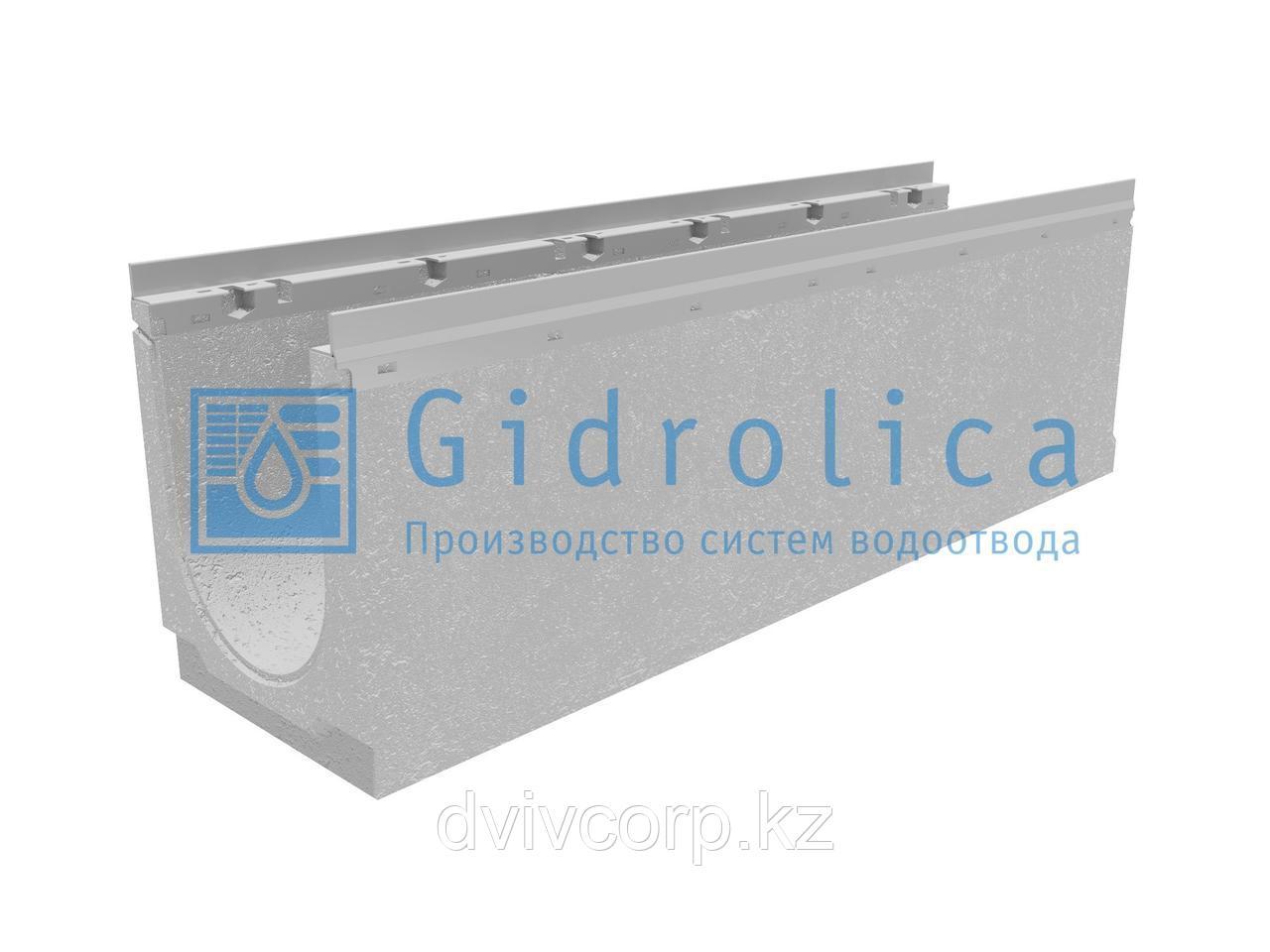 Лоток водоотводный бетонный коробчатый (СО 200 мм), с оцинкованной насадкой, с уклоном 0,5% КUу 100.26,3