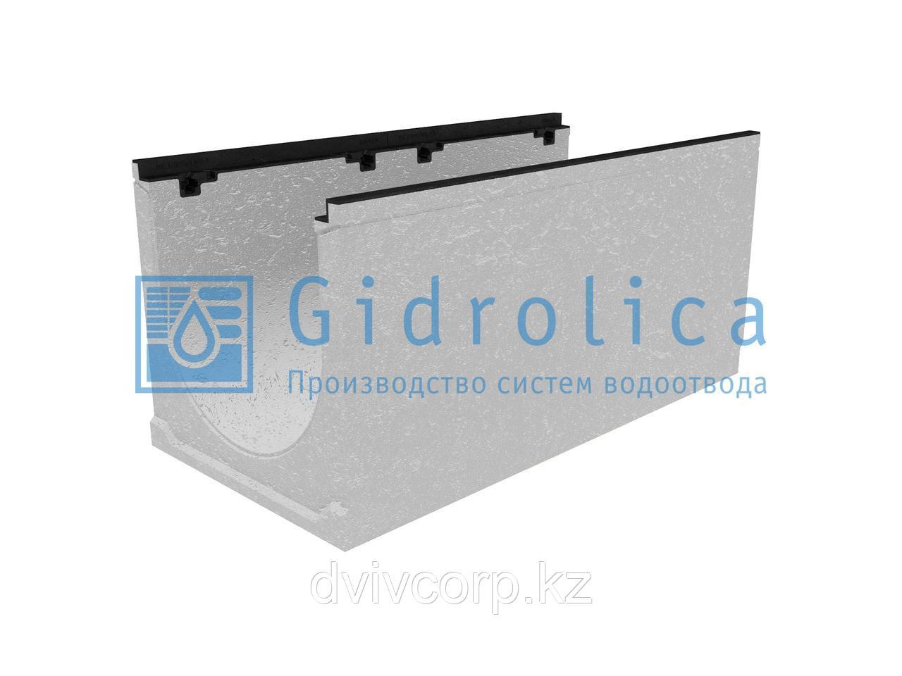 Лоток водоотводный бетонный коробчатый (СО-400мм), с чугунной насадкой, с уклоном 0,5%  КUу 100.49,9