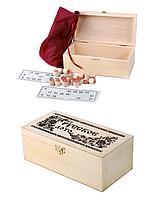 Русское лото в инкрустированном деревянном сундучке 260х130х90