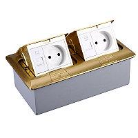 Shelbi Напольный/настольный лючок на 2х3 модуля, металл, золото, фото 1