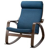 Кресло-качалка ПОЭНГ коричневый, Шифтебу темно-синий ИКЕА, IKEA, фото 1