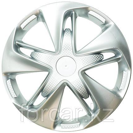 Колпак колесный LION Супер Астра 14 серебристый  карбон (4 шт.), фото 2