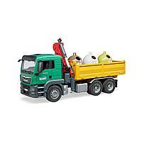 Самосвал MAN Bruder c 3 мусорными контейнерами