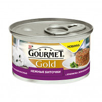 Gourmet Gold, Гурмэ Голд нежные биточки, ягненок с зеленой фасолью, баночка 85 гр.