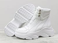 Женские белоснежные ботинки на шнуровке из натуральной кожи