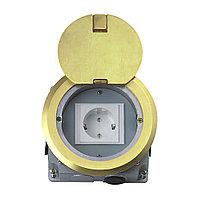 Напольный лючок на 1 модуль Mosaic 45 (45*45) , круглый, цвет золото, HTD-140K, фото 1
