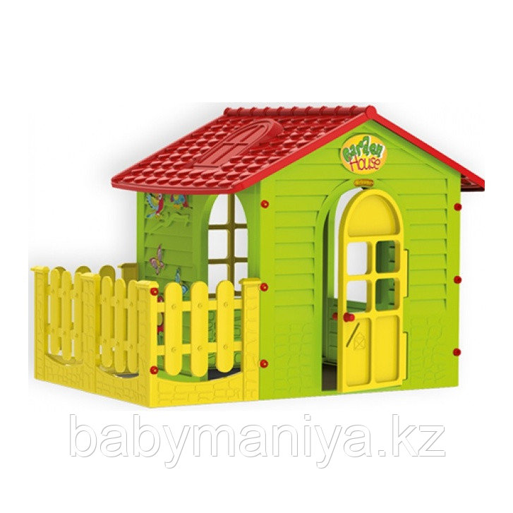 Детский игровой Домик садовый MOСHTOYS с забором
