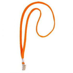 Ремешок для бейджа, 45см, c металлическим клипом, оранжевый