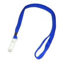 Ремешок для бейджа, 45см, c пластиковым клипом, синий