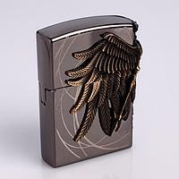 """Зажигалка газовая """"Крылья"""" для мужчин, кремний, бронза 4х5.7 см"""