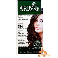 Темно-коричневая Краска для волос Биотик с 9 травами (BIOTIQUE HERBCOLOR) 50 г + 110 мл