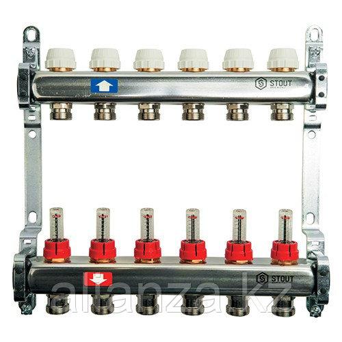 """Коллекторная группа STOUT - 1"""" на 4 контура 3/4"""" (расходомеры, клапананы, сливные краны)"""
