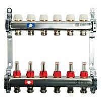 """Коллекторная группа STOUT - 1"""" на 10 контуров 3/4"""" (расходомеры, клапананы, сливные краны)"""