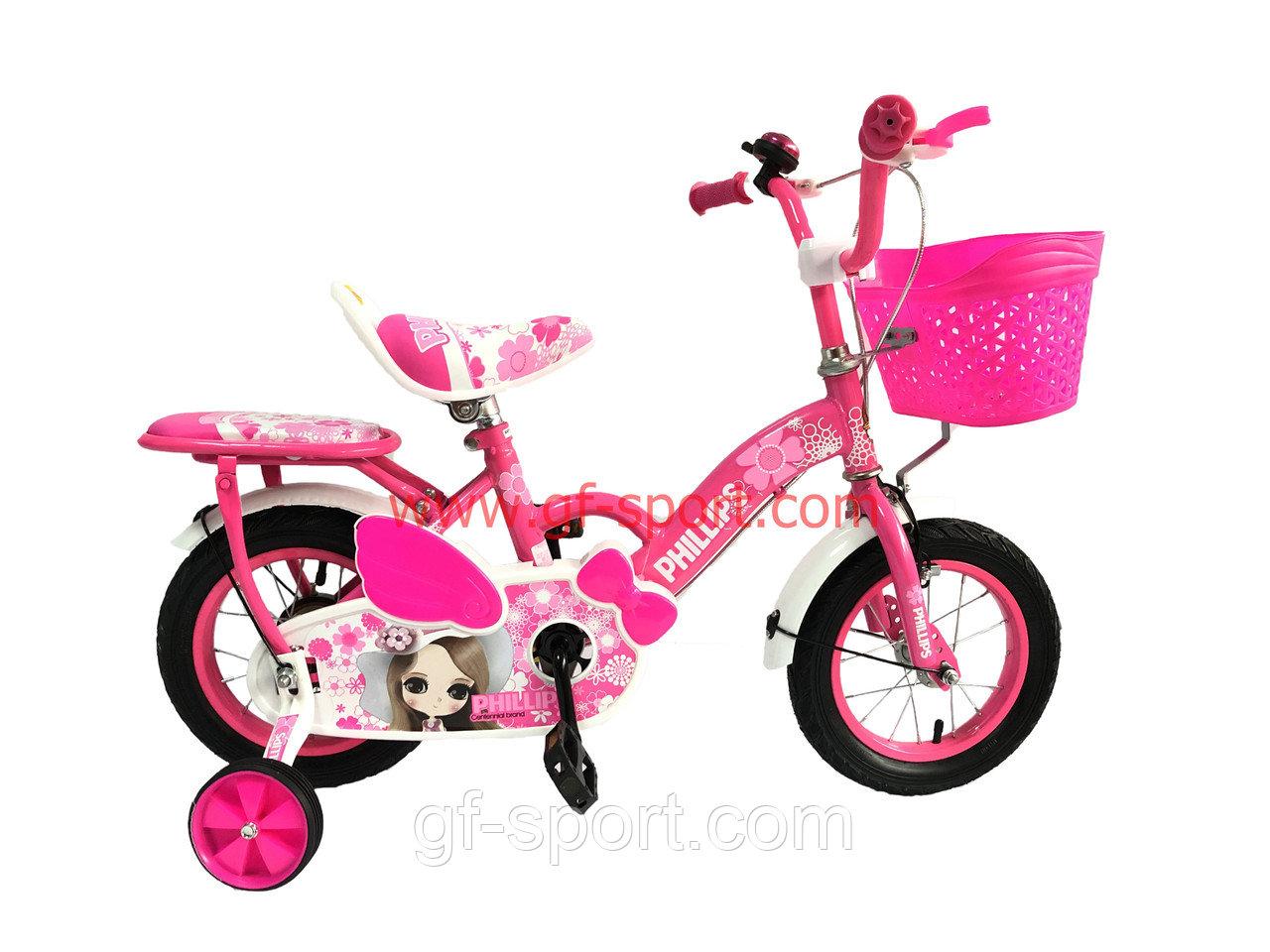 Велосипед Phillips Принцесса розовый оригинал детский с холостым ходом 12 размер