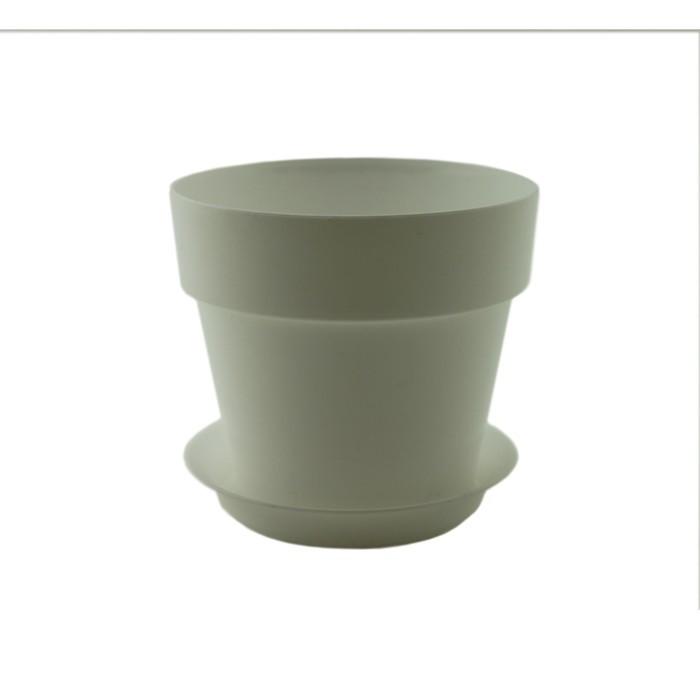 Пластиковый горшок с поддоном «Протея», цвет белый