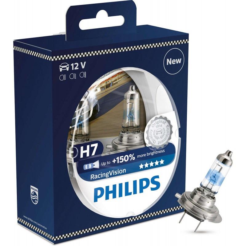 Галогеновые лампы Philips H7 RacingVision (+150%) - 12972RVS2 (пласт. бокс)  2 шт.