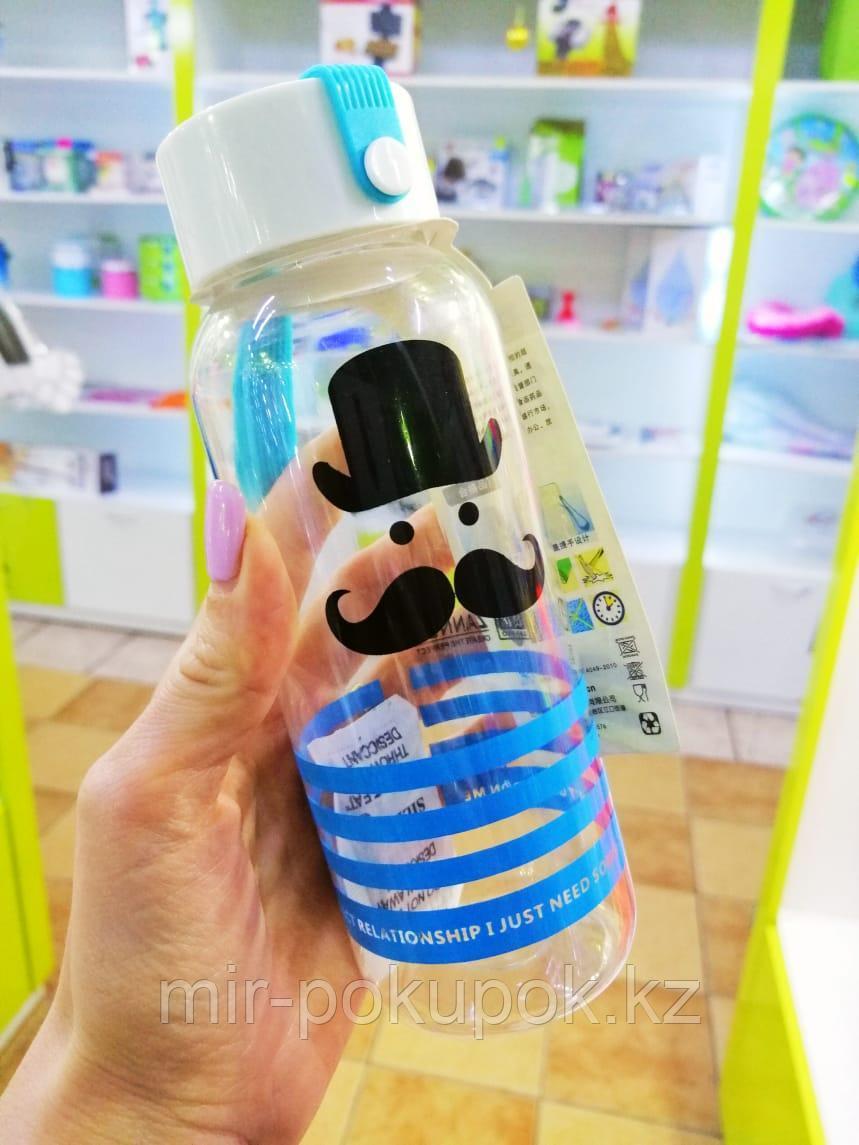 Распродажа! Бутылка для питья пластиковая с усами 200  мл
