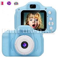Детский цифровой фотоаппарат с рамками и видеосъемкой 400 mAh (голубой)