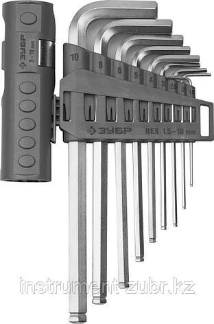 Набор ЗУБР Ключи имбусовые длинные с шариком, Cr-Mo, сатинир. покр., держатель-рукоятка, HEX 1,5-10мм, 9 пред, фото 2