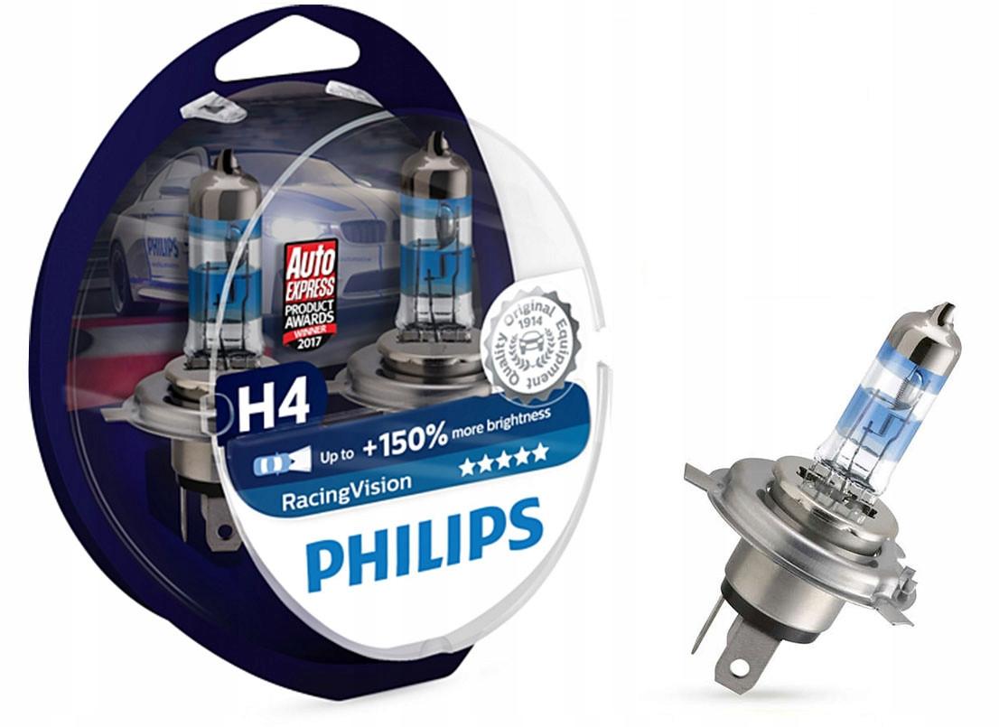 Галогеновые лампы Philips H4 RacingVision (+150%) - 12342RVS2 (пласт. бокс)  2 шт.