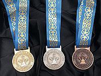 Медали золото, серебро, бронза с лентой на заказ