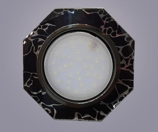 Светильник GX53 хром+стекло 8 углов. Черный