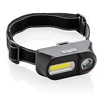 Налобный фонарь COB (Chip-on-Board) и LED, черный, Длина 8,5 см., ширина 4,4 см., высота 4,3 см., P518.041