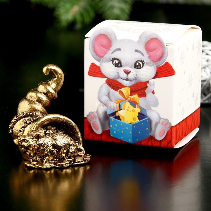 """Сувенир металл """"Мышка Счастья, богатства"""", золото, в коробке 2,8х3,7 см"""