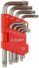 Набор ЗУБР Ключи имбусовые короткие, Cr-V, сатинированное покрытие, пластик. держатель, TORX Т10-Т50, 9 пред