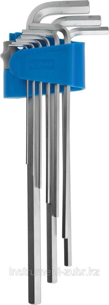 Набор ключей имбусовых ЗУБР длинные,Cr-Mo,сатинированное покрытие,эргоном держатель,HEX 1,5 - 10 мм,9шт