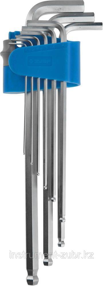Набор ключей имбусовых ЗУБР длинные с шариком,Cr-Mo,сатинир покрытие,эргоном держатель,HEX 1,5 - 10 мм,9шт